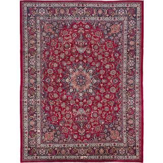 For Ecarpetgallery Hand Knotted Persian Mashad Red Wool Area Rug 9 10
