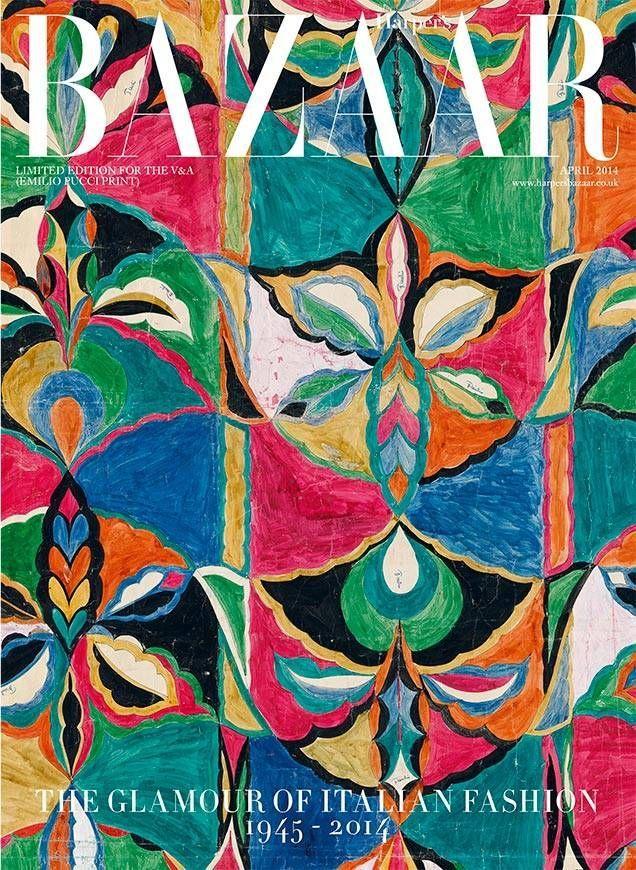 illustration : motif d'Emilio Pucci, couverture de magazine, Harper's Bazaar, avril 2014.