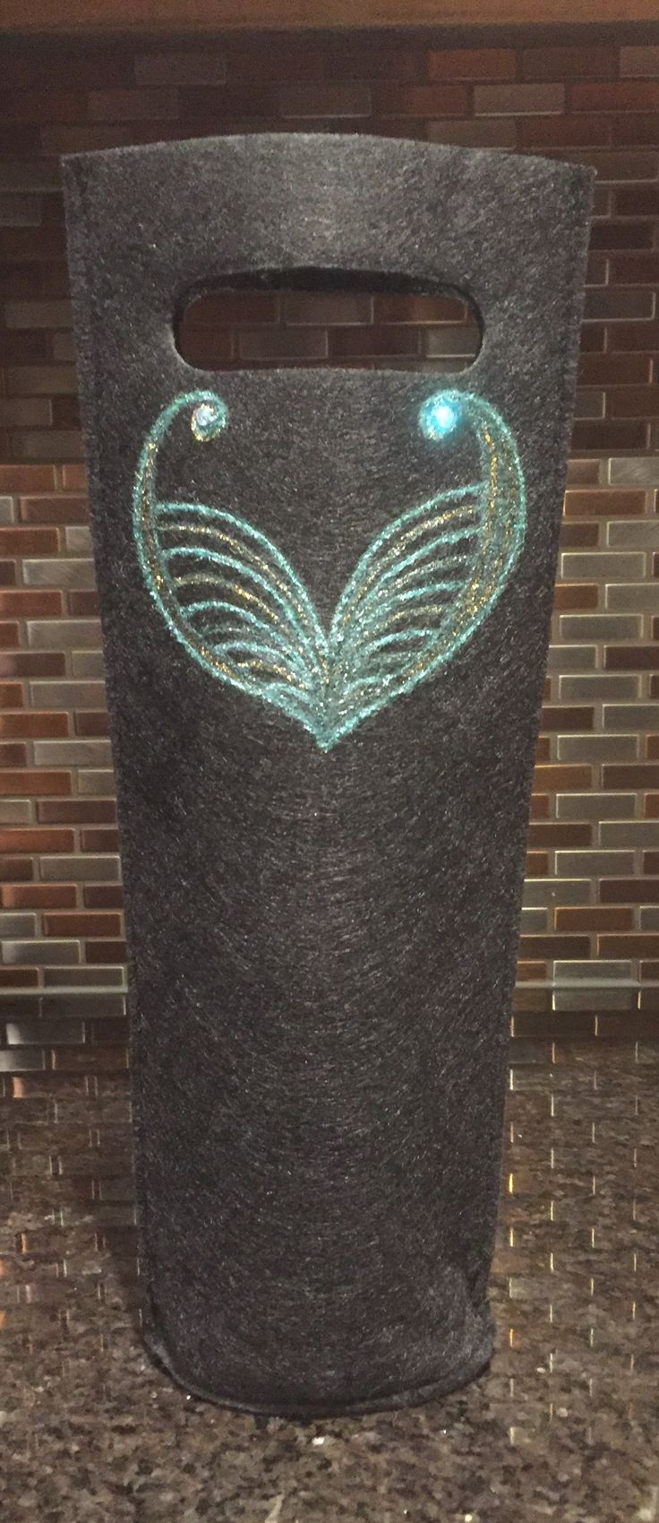 """Mermaids Dream"" #HandpaintedWineTote #MyEscapeArtDesigns #MelodyGermain #ChaptersMacleodTrail #yyc  www.myescapeart.ca"