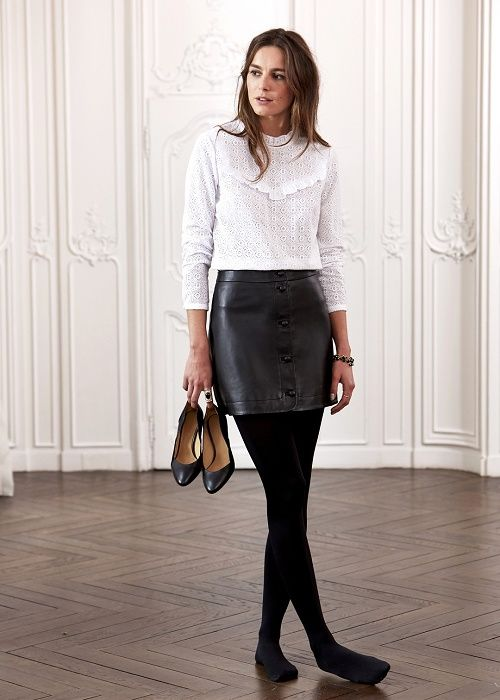 Holiday leather skirt white ruffle blouse tights