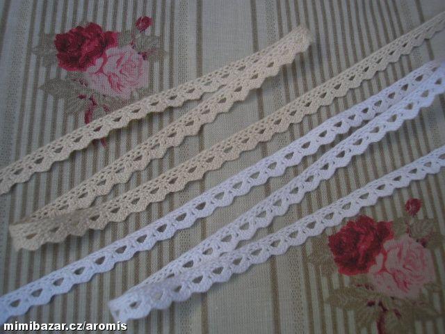 krajka paličkovaná bavlněná šíře 8 mm 2 metry  bílá