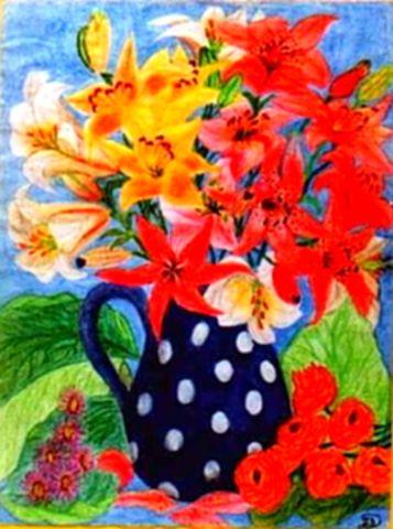 Liliomok pöttyös vázában - Virágok ceruza rajz