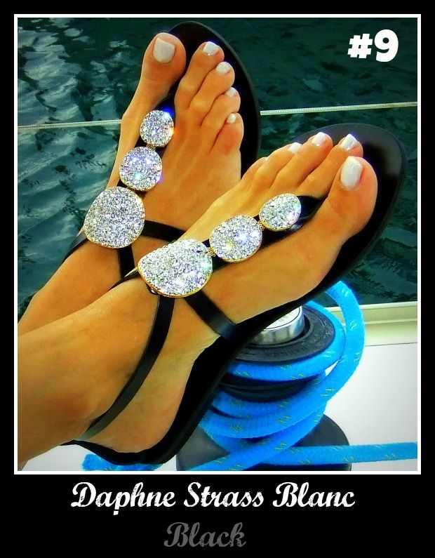 Number 9, Daphne Strass Blanc. Be sure to check it out! http://www.greekinnovativesandals.com/2015/01/daphne-strass-black.html €119.00