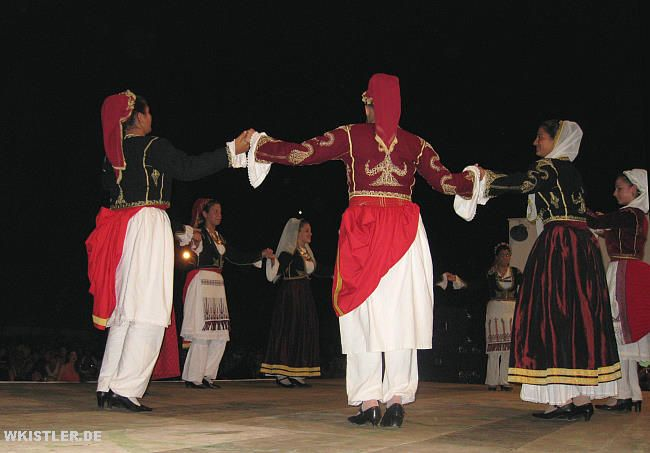 Dancers in Sfakia in traditional Cretan costumes