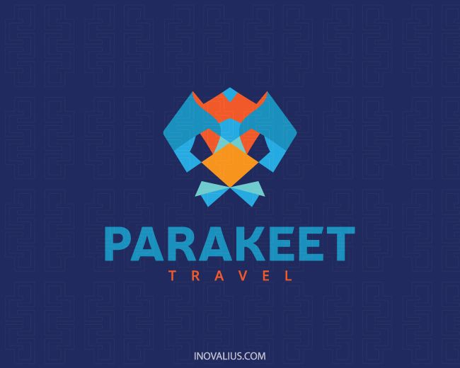 Animal logo with the shape of a stylized parakeet head with yellow, blue and orange colors. ( parakeet, bird, animal, travel, mosaic, flying, pet shop, veterinary, educator, 3d, pets, parrot, parrotlet, veternarian,  logo for sale, logo design, logo, lototipo, logotype).