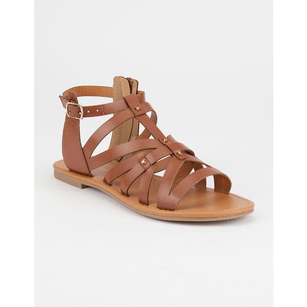 City Classified Strappy Stud Womens Gladiator Sandals ($17) ❤ liked on Polyvore featuring shoes, sandals, strap sandals, greek sandals, studded sandals, studded shoes and monk-strap shoes