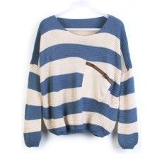 Blue Stripes Loose Sweater with Pocket.