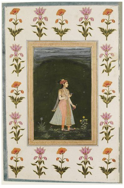 a standing lady in profile Small Clive Album North India late 17th century/early 18th century V&A