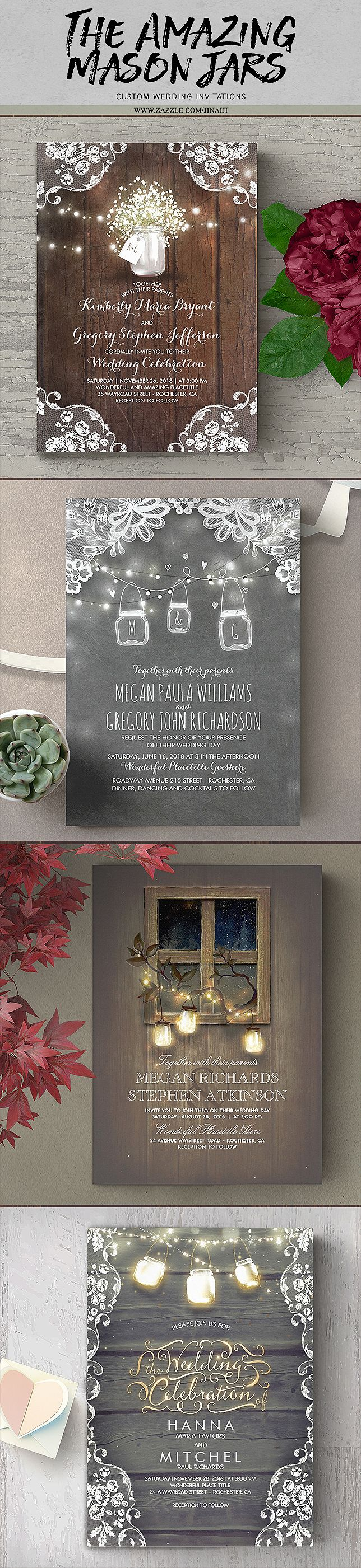 Mason Jars and Dreamy Rustic Barn Lights Invitations. Browse all invites at : http://www.zazzle.com/jinaiji?rf=238735013921289874&tc=needwedding11