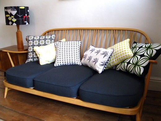 Dark blue fabric for sofa with piped edges