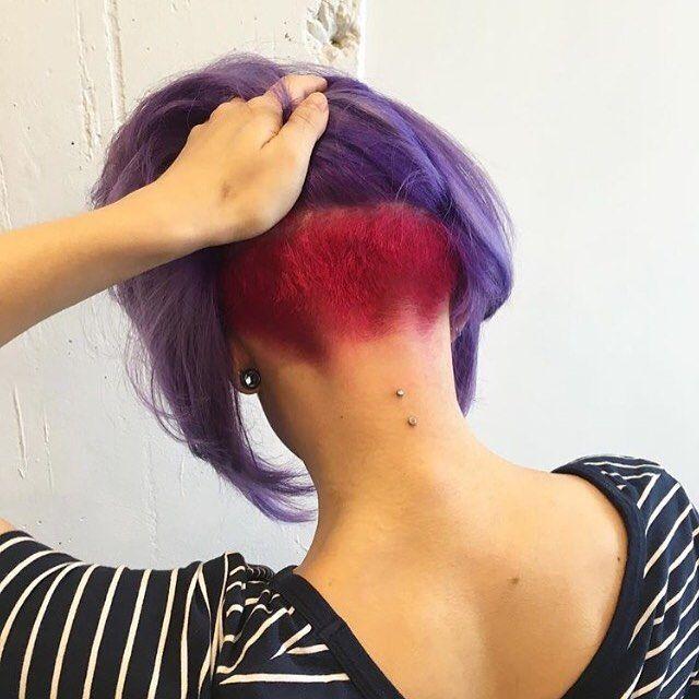 Purple Bob Red Undercut Nape Thanks @shaytopaze... - go shorter