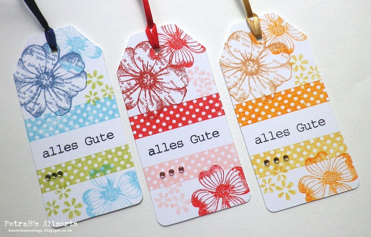 Inky Flowery Tags. plain white tag - stamp: Penny Black, Eline Pellinkhof, Different Colours, Kartenkunst - distress inks, blings