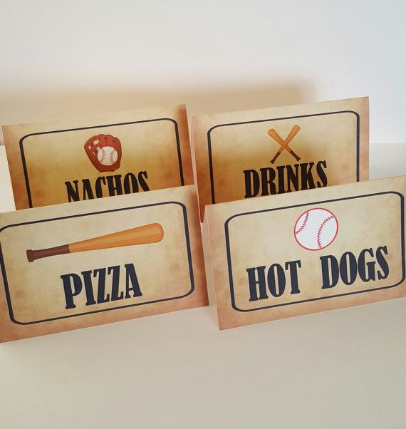 Baseball food labels baseball food cards by ThePaperPropShop