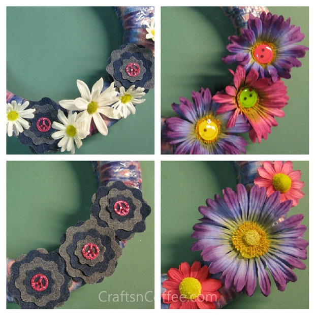 how to embellish your tie-dye duct tape wreath #diedye #diy #craft