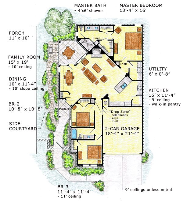 Larry W Garnett Home Design Part - 37: First Floor Plan Of European Ranch Traditional House Plan 56572 1730 Sq Ft
