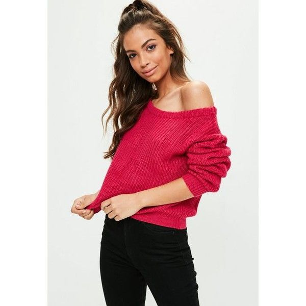 Missguided Pink Off Shoulder Cropped Sweater ($21) ❤ liked on Polyvore featuring tops, sweaters, pink, slouchy off the shoulder sweater, off shoulder crop sweater, long sleeve crop top, red off the shoulder top and off the shoulder crop sweater