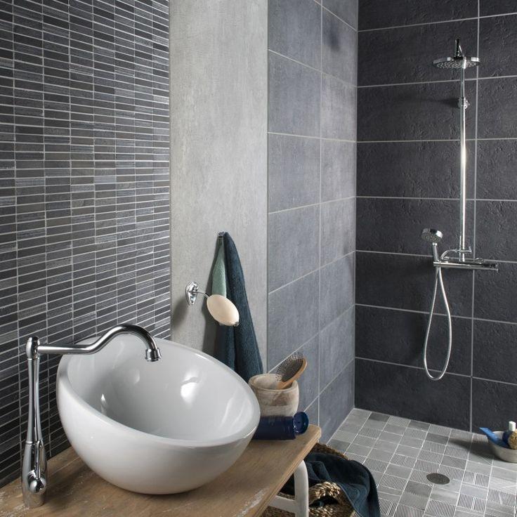 68 best Salle du0027eau images on Pinterest Bathroom, Design bathroom - salle de bain carrelage gris et blanc