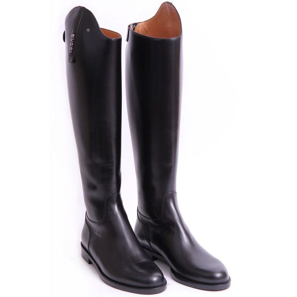 Gucci Black Leather Riding Boots found on Polyvore