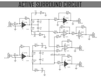 This Active Surround Sound Circuit is very suitable for converting Stereo Input into Surround Sound 4 Channel Output, visit here if you want to make it, it's include circuit diagram and PCB Layout.