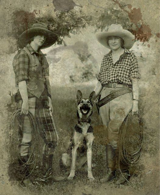 All a girl really needs is a good friend ,  a lasso, a gun,  and a dog. Watch out! vintage cowgirl