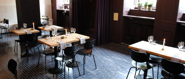 Restaurant Hummer in Copenhagen.  Floor: Lava Stones - 5x30 cm - Color: PSC./ Tangled Up In Blue Satin. Window color: Black Orchid. Wall color: Top - Nights In White Satin / Bottom - Pearl