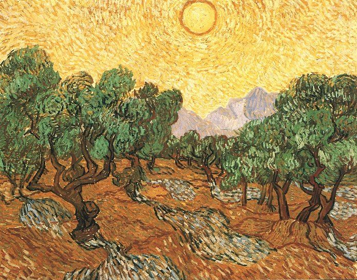 van Gogh -   Olive Trees with Yellow Sky and Sun