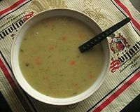 Cucumber soup is a traditional Polish soup (Polish: (About this sound Zupa ogórkowa  sometimes simply ogórkowa).[1] It is made from sour, salted cucumbers and potato.[1] Occasionally rice is substituted for the potatoes. A similar soup is also common in Russia and Ukraine, where it is known as rassolnik.