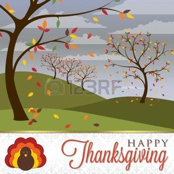 hojas de otoño dibujo: Tarjeta de la escena de Acción de Gracias en formato…