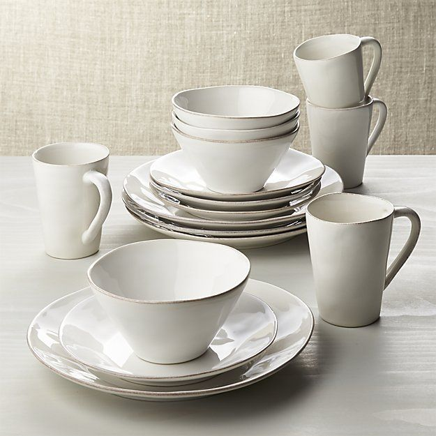 Marin White 16-Piece Dinnerware Set | Crate and Barrel