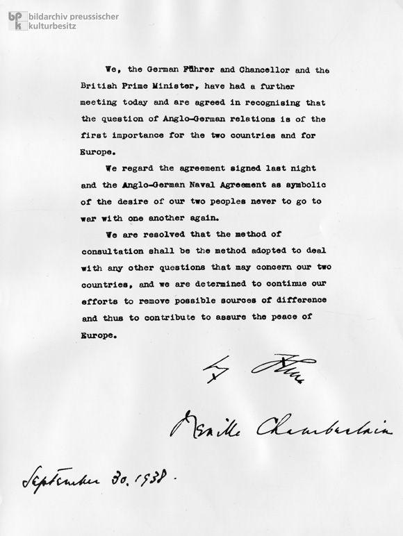 Neville Chamberlain And Adolf Hitler's Joint Resolution