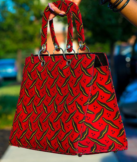 Red Leech African Wax Print Tote