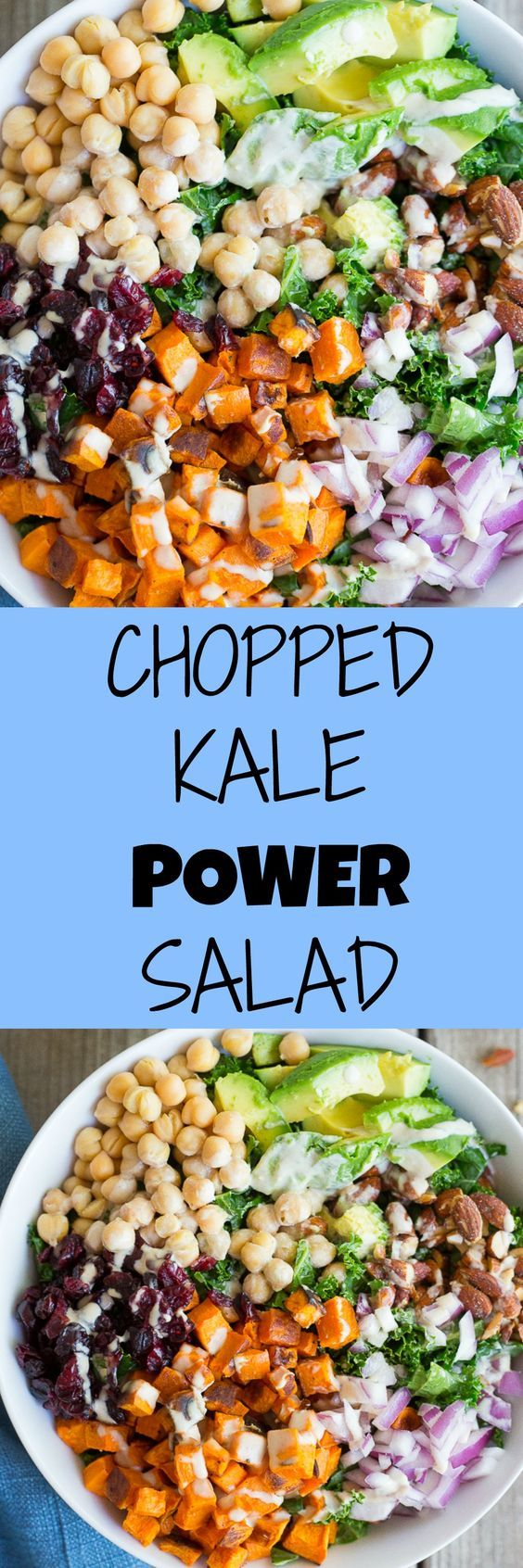 Chopped Kale Power Salad with Lemon Tahini Dressing - This delicious, healthy and filing salad is great for a make ahead lunch! It's packed with tons of healthy ingredients and is gluten free and vegan too!