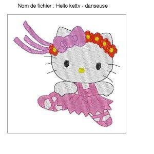 Motif Broderie Hello Ketty - Danseuse - Fil d'arc-en-ciel