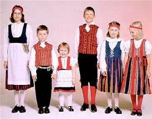 Finnish children in native costumes