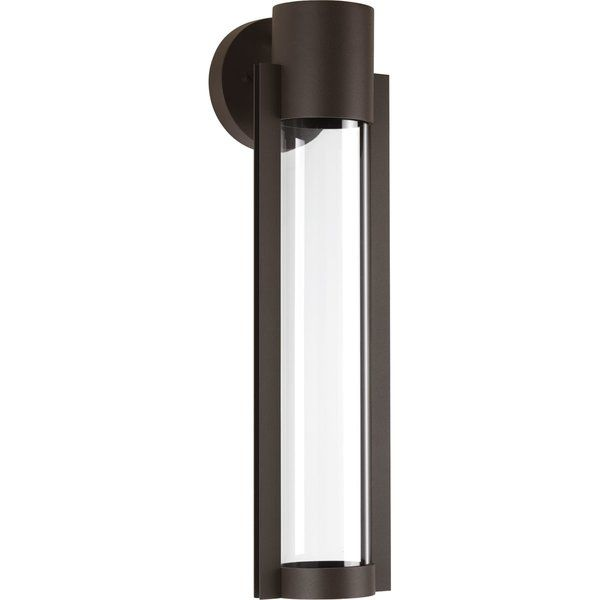 A modern sconce with an architectural inspired open linear frame and clear glass diffuser.