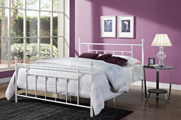Queen White Metal Slats Platform Bed Frame Base Foundation Traditional Victorian #Unbranded #Traditional