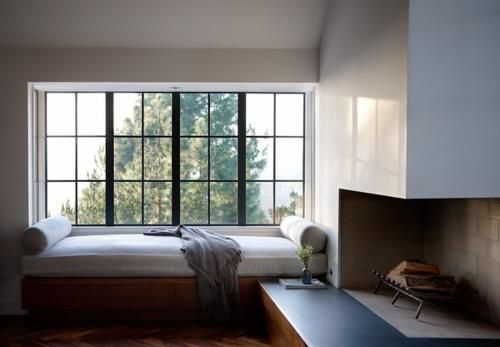 Corner Fireplace: Window Benches, Houses, Interiors, Corner Fireplaces, Reading Nooks, Window Seats, Design, Bays Window, Rooms