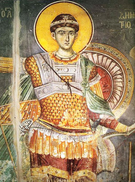 The son of a Roman proconsul, Holy GreatMartyr Demetrius the Myrrh-gusher of Thessalonica was secretly raised Christian. Young Saint Demetrius became proconsul and was told to eradicate Christianity. Instead, Saint Demetrius preached openly, converting many pagans. He confessed Christ before the emperor. At dawn on Oct 26, year 306, soldiers speared him to death. 100 years later his relics were found incorrupt. Frangrant myrrh has been flowing under his crypt since the 7th century. (Oct 26)