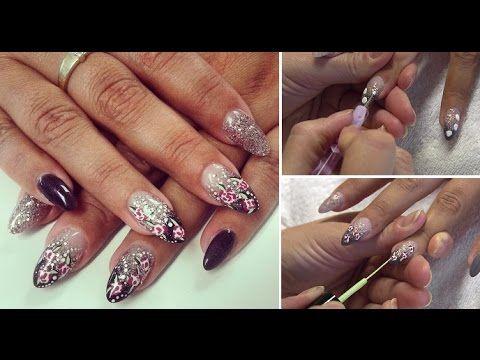 Acryl nagels met paarse & rose gouden glitters en NailArt! | Beautynailsfun.nlBeautynailsfun.nl