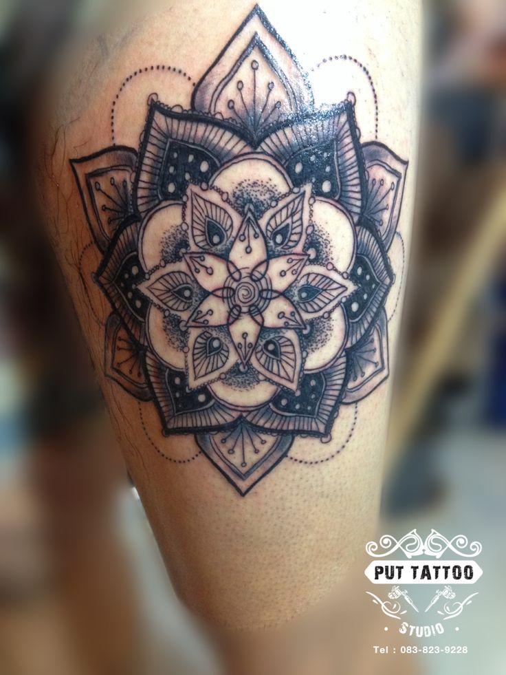 mandala tattoo Artist By: Put Tattoo Studio shop at Nakhonsawan City #mandalatattoo #blacktattoo #flowertattoo #thailandtattoo #tattoothailand