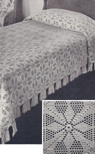 Vintage Crochet PATTERN to make - MOTIF Block Bedspread in Vespers Filet Crochet Design. NOT a finished item. This is a pattern and/or instructions to make the item only., http://www.amazon.com/dp/B004GYLDMA/ref=cm_sw_r_pi_awdm_qcp0ub0EYWTNC