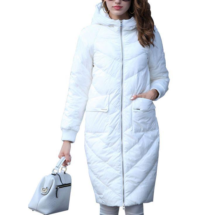Женская Зимняя Куртка С Капюшоном Пальто Белый Длинные Пуховики Парки Для Женщин Элегантный Кокон Толстая Пальто Doudoune Femme Invierno купить в магазине Garemay-2 Store на AliExpress