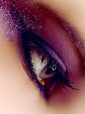Purple Glitter Smokey Eye Makeup