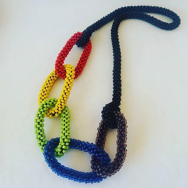 : Rainbow statement necklace.. #handmade #beadcrochet #beadcrochetrope #jewelry #jewellery #handmadejewellery #necklace #kolye #fashion #fabulous #fashionista #style #stylish #χειροποίητο #κολιέ #κόσμημα
