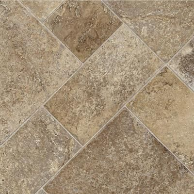 Flooring for the Kitchen - TrafficMASTER Coffee Diagonal Tile 12 ft. Vinyl Sheet-U5290.258C946P144 @ The Home Depot