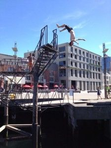 Back flip off of the Taranaki Wharf Jump Platform in Wellington, New Zealand.