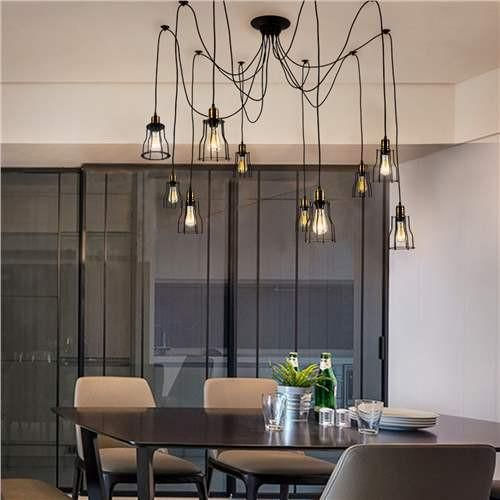 This black industrial style ceiling light will be perfect for you if you are fond of industrial style home decor. It features Edison 10-lights and wire cage. Ha