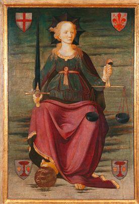 Allegorii van Vrouwe Justitia della Giustizia (1470-1475)
