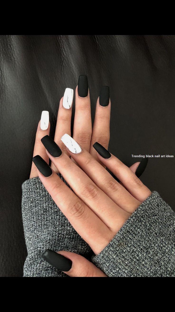 20 Simple Black Nail Art Design Ideas Nail Solid Color Nails Cute Black Nails Marble Nail Designs