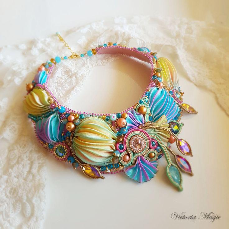 Shibori Necklace - Soutache Necklace - Soutache embroidery and Shibori ribbon necklace- Shibori ribbon bead embroidered by SoutacheMagic on Etsy